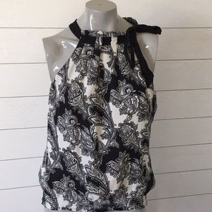 White House Black Market high neck blouse size L